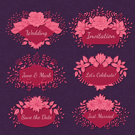 birthday cards: Vector Floral Frame Collection. Set of doodle hand drawn labels with flowers for wedding invitations, save the date and birthday cards. Oval, diamond and polygon shaped elements