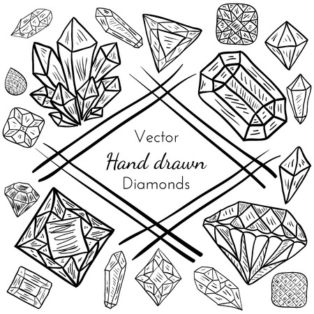 diamond stones: Vector Abstract Frame with hand drawn precious diamond, crystal, gem stones. Doodle design for creative cards, backgrounds or invitation