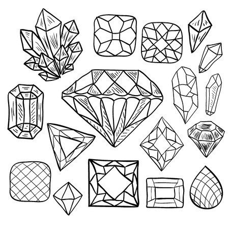 Hand drawn doodle vector elements set (Vol. 1 of 9). Black jewelry silhouettes isolated on white. Precious diamond, crystal, gem stones. Different shapes and facets. Ilustração