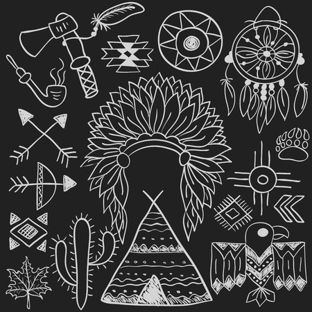 wigwam: Hand drawn doodle vector elements set (vol. 5 of 9). Native american symbols: indian chief headdress, dreamcatcher, bow, tomahawk, arrows, wigwam. White silhouettes isolated on black.