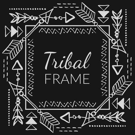 Marco tribal vector abstracto con las flechas dibujadas a mano del doodle. Diseño étnico para las tarjetas creativas y fondos Ilustración de vector
