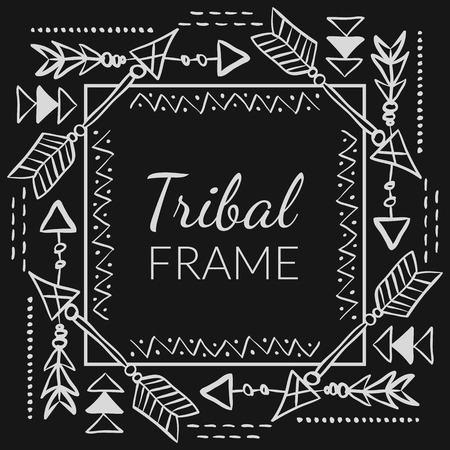 Vector Abstract Tribal Frame with doodle hand drawn arrows. Ethnic design for creative cards and backgrounds Illustration