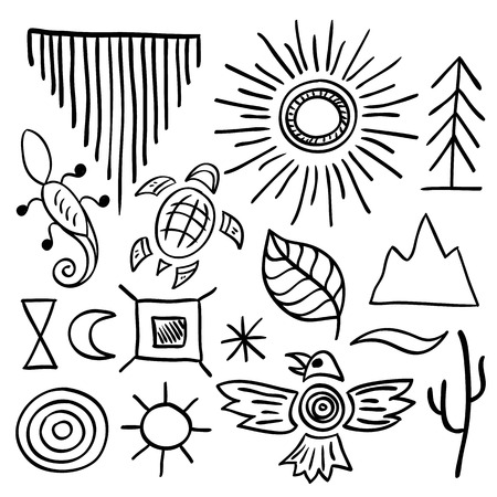 ancient turtles: Hand drawn doodle vector elements set (vol. 9 of 9). Native american symbols: sun, tree, eagle, mountain, turtle, lizard. Black silhouettes isolated on white.