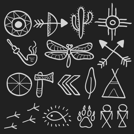 wigwam: Hand drawn doodle vector elements set (vol. 7 of 9). Native american symbols: tomahawk, arrows, wigwam, footprint, cactus, dragonfly. White silhouettes isolated on black.