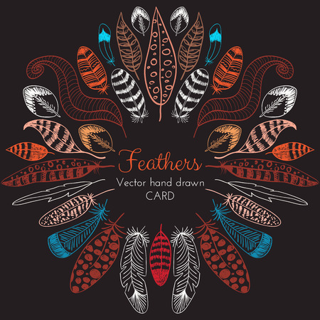 Vector Hand drawn Feathers Frame. Tribal ethnic design for creative cards and backgrounds Vectores