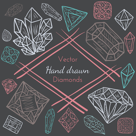 diamond background: Vector Abstract Frame with hand drawn precious diamond, crystal, gem stones. Doodle design for creative cards, backgrounds or invitation