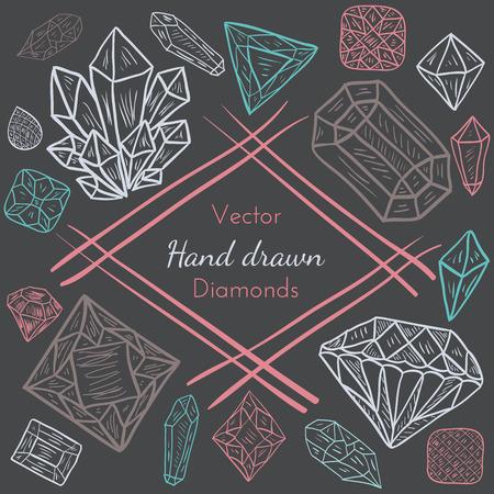 diamante: Vector Resumen Capítulo con el dibujado a mano precioso diamante, cristal, piedras preciosas. Diseño del Doodle para las tarjetas creativas, fondos o invitación