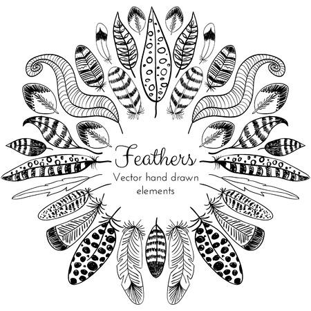 pluma: Vector Dibujado a mano Plumas marco. Diseño étnico tribal para las tarjetas creativas y fondos