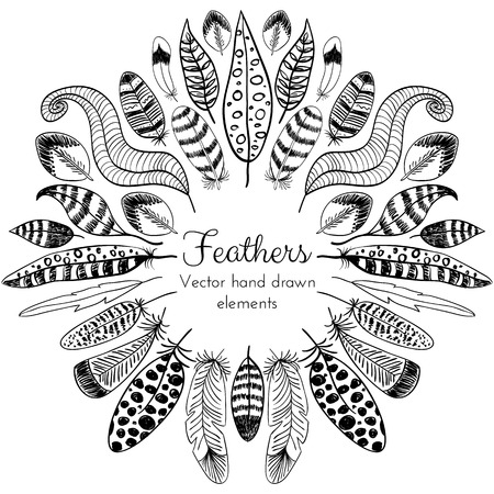 feather: Vector Hand drawn Feathers Frame. Tribal ethnic design for creative cards and backgrounds Illustration