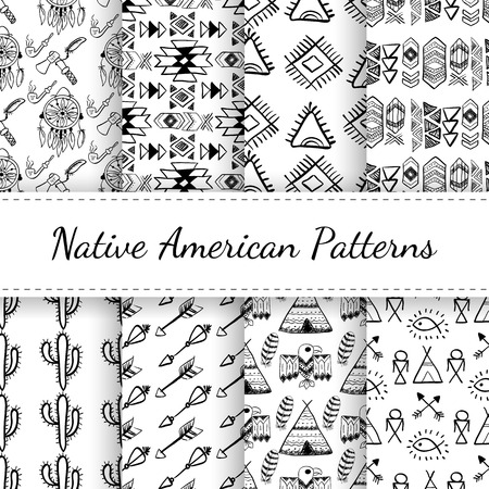 wigwam: Native American Seamless Patterns Set with abstract elements, arrows, dreamcatcher, wigwam, eagle. Black and white hand drawn doodle vector collection for textile, wallpaper