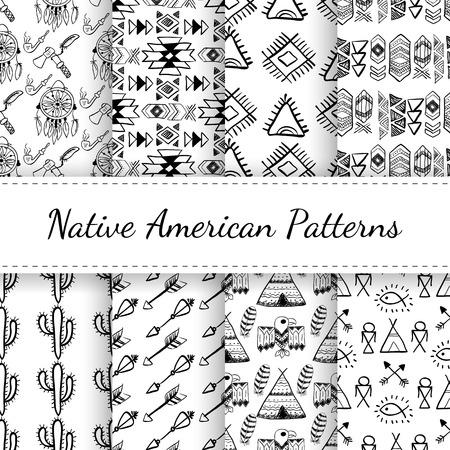 aigle: Seamless Patterns amérindiennes défini avec des éléments abstraits, des flèches, dreamcatcher, wigwam, aigle. Collection de vecteur noir et blanc dessiné à la main doodle pour le textile, le papier peint