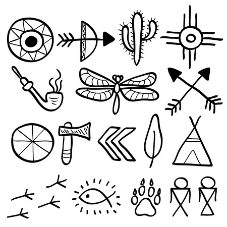wigwam: Hand drawn doodle vector elements set (vol. 7 of 9). Native american symbols: tomahawk, arrows, wigwam, footprint, cactus, dragonfly. Black silhouettes isolated on white.