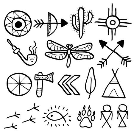pipe dream: Mano elementos vectoriales garabato dibujado set (Vol. 7 de 9). S�mbolos americanos nativos: tomahawk, flechas, tienda india, huella, cactus, lib�lula. Siluetas negras aisladas en blanco.