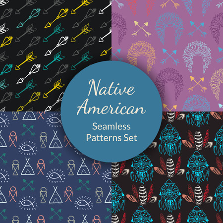 wigwam: Native American Seamless Patterns Set with indian chief headdress, dreamcatcher, arrows, wigwam, feathers. Colored Hand drawn doodle vector collection for textile, wallpaper Illustration