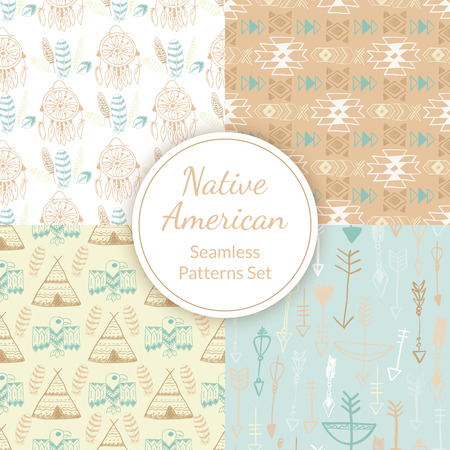 wigwam: Native American Seamless Patterns Set with dreamcatcher, arrows, wigwam, eagle, feathers, abstract indian symbols. Colored Hand drawn doodle vector collection for textile, wallpaper