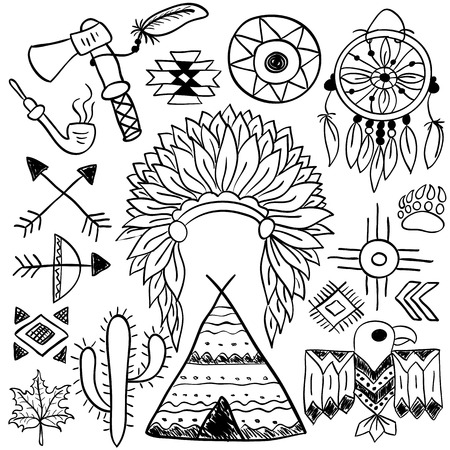 Hand drawn doodle vector elements set (vol. 5 of 9). Native american symbols: indian chief headdress, dreamcatcher, bow, tomahawk, arrows, wigwam. Black silhouettes isolated on white.