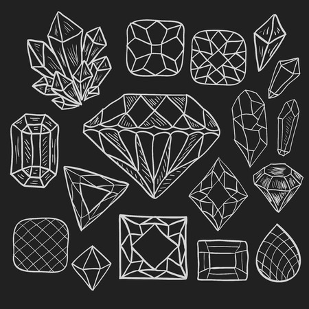 diamond stones: Hand drawn doodle vector elements set (Vol. 1 of 9). White jewelry silhouettes isolated on black. Precious diamond, crystal, gem stones. Different shapes and facets.