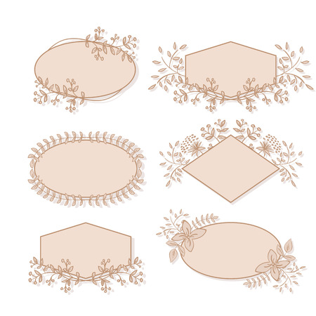 diamond shaped: Vector Floral Frame Collection. Set of doodle hand drawn labels with flowers for wedding invitations, save the date and birthday cards. Oval, diamond and polygon shaped elements