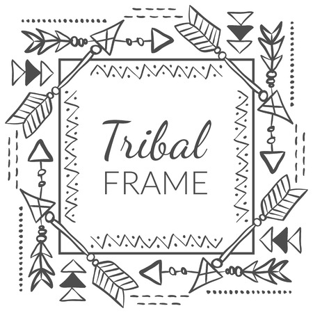 Vector Abstract Tribal Frame with doodle hand drawn arrows. Ethnic design for creative cards and backgrounds Иллюстрация