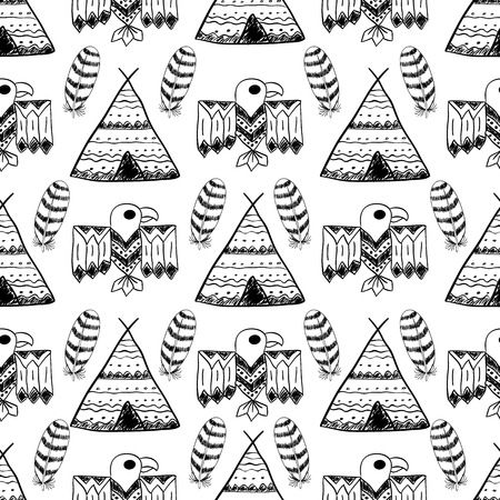 Native American Seamless Pattern with different tribal symbols: wigwam, feathers, eagle. Colored Hand drawn doodle vector background for textile, wallpaper