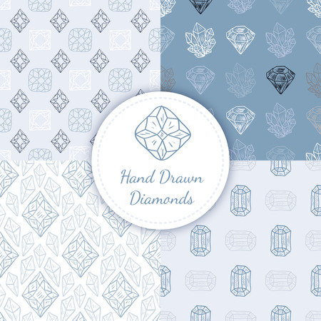 gem stones: Vector Seamless Patterns Set with hand drawn doodle diamonds, crystals and gem stones. Light repeating backgrounds for textile or wallpaper
