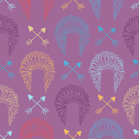 indian chief headdress: Native American Seamless Pattern with indian chief headdress and arrows. Colored Hand drawn doodle vector illustration for textile, wallpaper