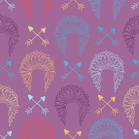 indio americano: Nativo americano Modelo inconsútil con el tocado jefe indio y flechas. Coloreado a mano ilustración vectorial doodle para las industrias textil, del papel pintado Vectores