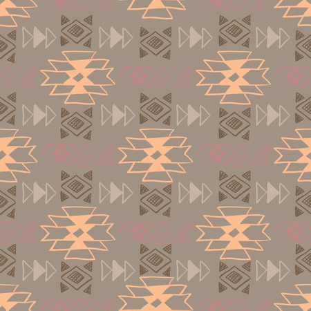fabric art: Native American Seamless Pattern with abstract aztec symbols. Colored Hand drawn doodle vector background for textile, wallpaper, cards decoration