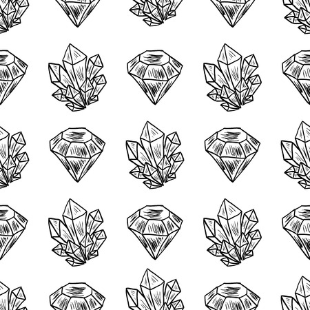 gem stones: Vector Seamless Pattern with hand drawn doodle diamonds, crystals and gem stones. Repeating background for textile or wallpaper