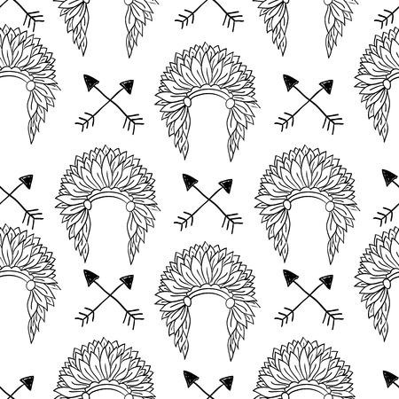 indian chief headdress: Native American Seamless con Capo indiano copricapo e le frecce. Doodle disegnati a mano illustrazione vettoriale per le industrie tessili, carta da parati