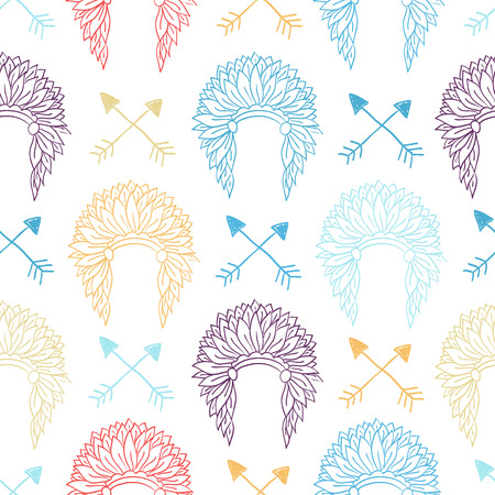chief headdress: Native American Seamless Pattern with indian chief headdress and arrows. Colored Hand drawn doodle vector illustration for textile, wallpaper
