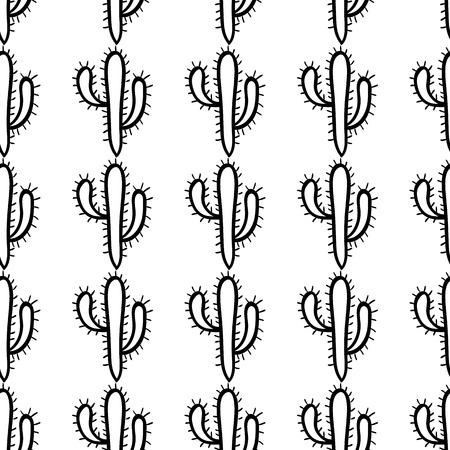 Hand drawn cactus seamless pattern. Black and white wallpaper Illustration