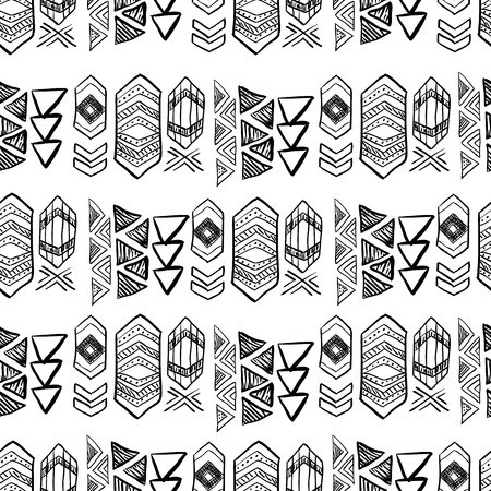 native american art: Native American Seamless Pattern with abstract aztec symbols. Colored Hand drawn doodle vector background for textile, wallpaper, cards decoration