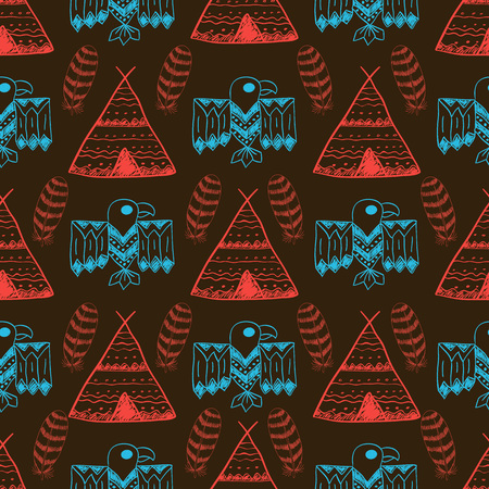 wigwam: Native American Seamless Pattern with different symbols: arrows, wigwam, feathers, eagle. Colored Hand drawn doodle vector background for textile, wallpaper