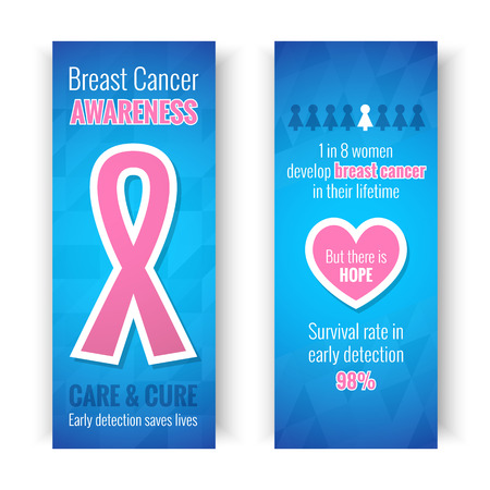 breast: Breast Cancer October Awareness Month Campaign Banners or Cards. Healthcare and medicine concept with pink ribbon sign. Vector illustration