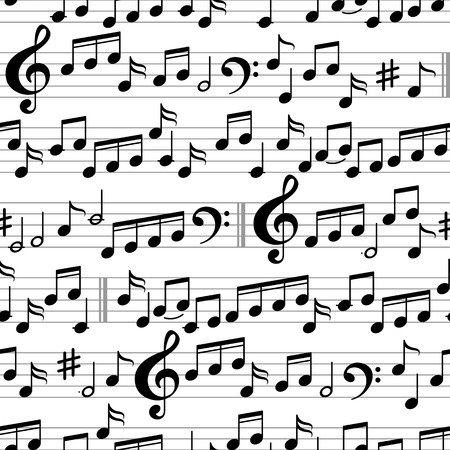 Abstract Black and White Music Seamless Pattern with notes and clef. Vector Background