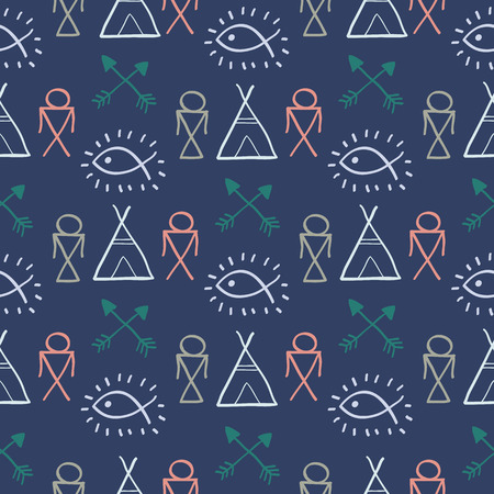 wigwam: Native American Seamless Pattern with different tribal symbols: arrows, wigwam, feathers, fish, people. Colored Hand drawn doodle vector background for textile, wallpaper