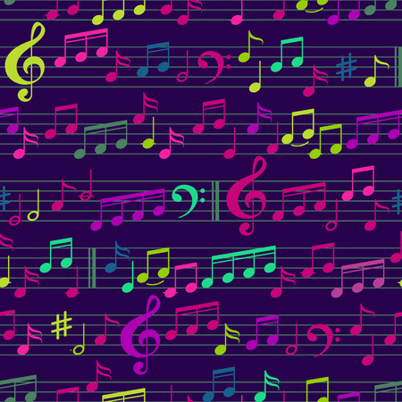 Abstract Colored Music Seamless Pattern with notes and clef. Vector Background