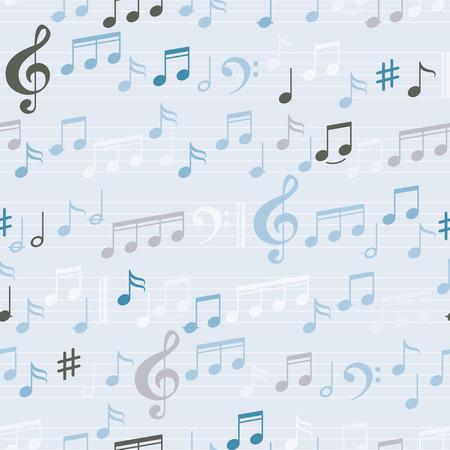 papel de notas: Resumen de color M�sica Patr�n sin fisuras con las notas y clef. Vector de fondo