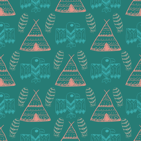wigwam: Native American Seamless Pattern with different tribal symbols: wigwam, feathers, eagle. Colored Hand drawn doodle vector background for textile, wallpaper