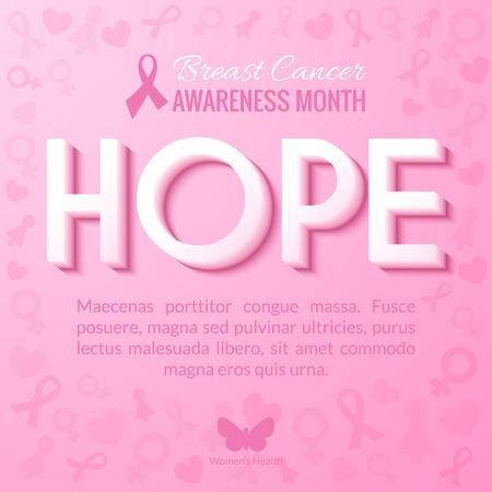 rak: Breast Cancer Awareness Month Campaign Tło z oznaczeniem Hope. ilustracji wektorowych