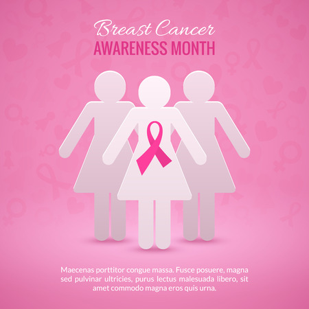 cancer: Breast Cancer October Awareness Month Campaign Background with paper girl silhouettes and pink ribbon symbol. Vector illustration