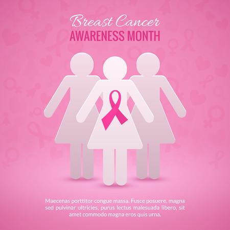 cancer de mama: Cáncer de pecho de octubre Antecedentes Campaña Mes de Concientización con las siluetas de la muchacha de papel y rosa símbolo de la cinta. Ilustración vectorial