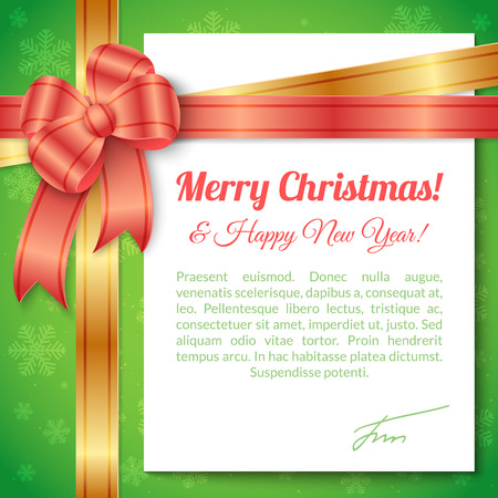 paper sheet: Merry Christmas and Happy New Year Greeting Background with ribbon, bow and white paper sheet with place for text. Illustration