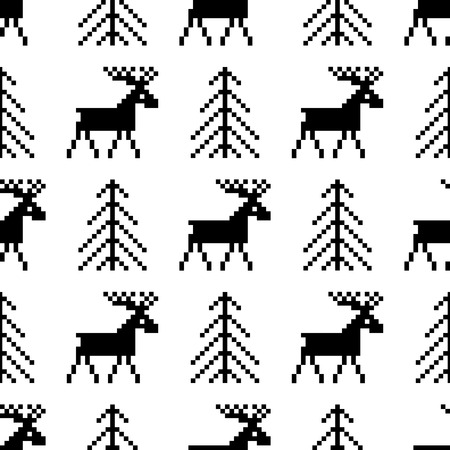 holiday background: Seamless pattern with deer and Christmas tree. Holiday repeating background