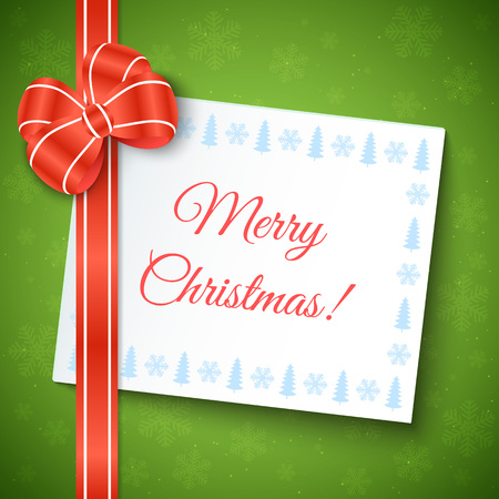 paper sheet: Merry Christmas Greeting Background with red bow and white paper sheet. Illustration