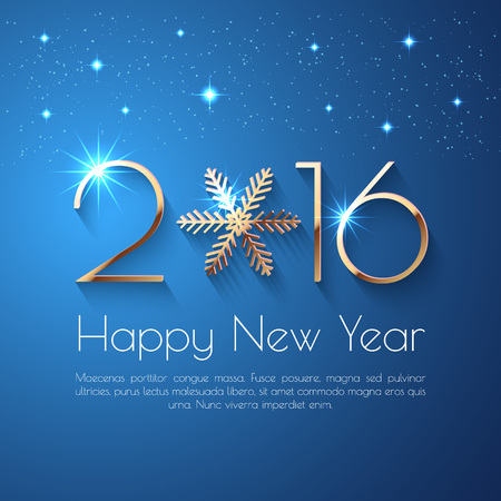 Happy New Year 2016 text design. Vector greeting illustration with golden numbers