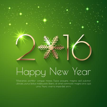 happy new year: Frohes Neues Jahr 2016 Textentwurf. Vektor-Grußabbildung mit goldenen Zahlen