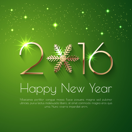 green banner: Happy New Year 2016 text design. Vector greeting illustration with golden numbers