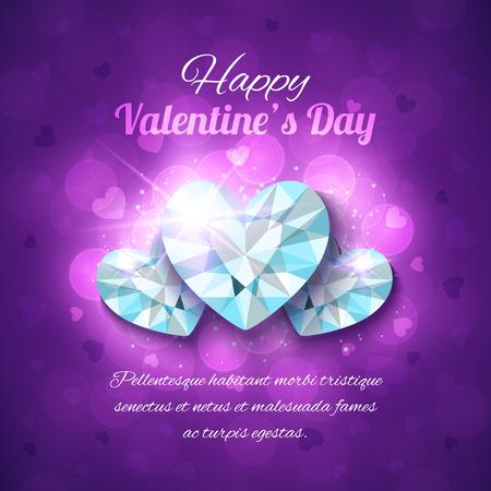 shiny hearts: Valentines Day Greeting Card. Vector design with shiny diamond hearts